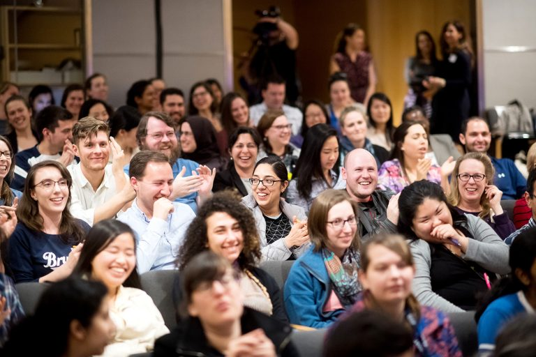 Audience members laugh during the Grad Slam competition on Thursday, March 16, 2017, at UCSF's Mission Bay Campus. The annual event challenges graduate students to present a compelling presentation of their dissertation research in three minutes or less, using language that not only their peers but also non-specialists will understand..(Photo by Noah Berger)..